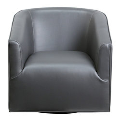 "Diamond Sofa - Cloud Low Profile Swivel Chair in Grey - The Cloud Swivel Chair by Diamond Sofa provides a chic, modern style along with comfort and functional ability. Swiveling 360 degrees, the Cloud chair is more than just for looks, this sleek, low profile styling will help you to achieve that look you have always wanted. Extra wide metal base with low center of gravity provides for maximum stability. Finished in a supple Grey Bonded Leather provides an inviting and comforting area for relaxing after a taxing day. The Cloud Swivel Chair measures 30 inches wide by 34 inches deep by 29 inches high.; Bonded Leather in Grey Finish; Deep Barrel Sit; 360 Degree Swivel; Sleek, Contemporary Low Profile Design; Metal Base; Primary Material: Bonded Leather; Fabric Content: Polydacron, Polyester Fibers; Weight: 63 lbs; Dimensions: 30""L x 34""W x 29""H"