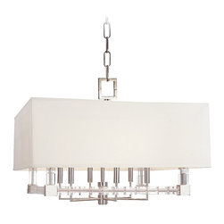 Hudson Valley Lighting - Hudson Valley Lighting Alpine Transitional Pendant Light X-NP-6217 - This Transitional Pendant Light by Hudson Valley Lighting is full of original beauty! A collection of arms, finished in Polished Nickel, branch out from beneath a large, white rectangular shade. This design creates visual appeal and will make a wonderful statement in any room.