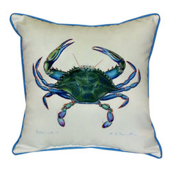 Betsy Drake - Betsy Drake Male Blue Crab Pillow- Indoor/Outdoor - Male Blue Crab Pillow-Large indoor/outdoor pillow. These versatile pillows are equal at enhancing your homes seaside decor and adding coastal charm to an outdoor setting arrangment. They feature printed outdoor, fade resistant fabric for years of wear and enjoyment. Solid back, polyfill. Proudly made in the USA.