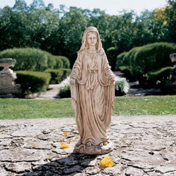 Design Toscano Madonna Blessed Mother Large-Scale Garden Statue - About Design Toscano:Design Toscano is the country's premier source for statues and other historical and antique replicas, which are available through the company's catalog and website. Design Toscano's founders, Michael and Marilyn Stopka, created Design Toscano in 1990. While on a trip to Paris, the Stopkas first saw the marvelous carvings of gargoyles and water spouts at the Notre Dame Cathedral. Inspired by the beauty and mystery of these pieces, they decided to introduce the world of medieval gargoyles to America in 1993. On a later trip to Albi, France, the Stopkas had the pleasure of being exposed to the world of Jacquard tapestries that they added quickly to the growing catalog. Since then, the company's product line has grown to include Egyptian, Medieval and other period pieces that are now among the current favorites of Design Toscano customers, along with an extensive collection of garden fountains, statuary, authentic canvas replicas of oil painting masterpieces, and other antique art reproductions. At Design Toscano, attention to detail is important. Travel directly to the source for all historical replicas ensures brilliant design.