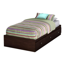 South Shore - South Shore Nathan Twin Mates Bed in Havana Finish - South Shore - Beds - 3339212 - Make the most of your available space with this practical twin 39-inch mate's bed in a rich Havana finish. It features three drawers underneath the bed for storing clothing, toys and other items. No bedspring required. Attaches to the 3339098 headboard to make a complete bed.