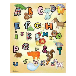 Oh How Cute Kids by Serena Bowman - Animal Alphabet, Ready To Hang Canvas Kid's Wall Decor, 16 X 20 - Every kid is unique and special in their own way so why shouldn't their wall decor be so as well! With our extensive selection of canvas wall art for kids, from princesses to spaceships and cowboys to travel girls, we'll help you find that perfect piece for your special one.  Or fill the entire room with our imaginative art, every canvas is part of a coordinating series, an easy way to provide a complete and unified look for any room.