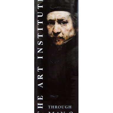 Rembrandt Self-Portrait Street Banner Wall Art - From the Art Institute of Chicago, an authentic, limited edition street banner to display in your home as spectacular wall art. Among the Dutch Masters, Rembrandt reigns supreme. And among Rembrandt's many works in many media - etching, drawing, painting - his self-portraits reign supreme. Following his own vision and style, Rembrandt often turned his artistic eye on himself, creating self-portraits that are honest and insightful. On these banners from the Art Institute of Chicago, rich hues and Rembrandt's trademark interplay of light and dark show his well-known face to great effect.