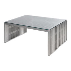 Nuevo Living - Amici Coffee Table - If you're drawn to elegance with an edge, this is your new coffee table. A linear frame of brushed stainless steel holds a slim, tempered glass top — a striking addition to your favorite modern setting.