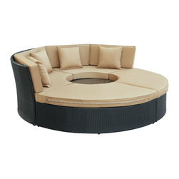Modway - Pursuit Circular Daybed Set EEI-956 Espresso Mocha - Complete your circle with four distinct wedges of joy. Pursuit is a fun and ambitious set that tests the limits of conversation. Participants of Pursuit is encouraged to face each-other in an open dialogue that truly never ends. The set is comprised of woven UV resistant rattan and all-weather cushions. The aluminum frame is also powder-coated for added protection against the elements. Playful and engaging, gather greater circles of friends, family and acquaintances into this set perfect for patios, pool areas, resorts and other outdoor spaces.