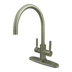 Kingston Brass - Double Handle Kitchen Faucet - This double handle kitchen faucet is made from a sleek satin nickel finish and features two hand levers diagonally mounted on the lower neck of the spout. The long goose neck spout has an 8-1/2in. reach for convenient access to washing your kitchen appliances and is made from solid brass for durability and reliability. Includes a ten-year limited warranty.