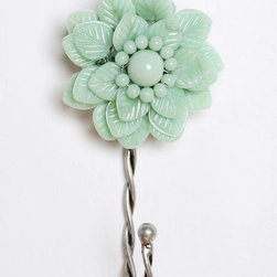 Beaded Flower Hook - Hanging a simple hook for your keys or dog leash is a nice way to incorporate this season's flowery trend.