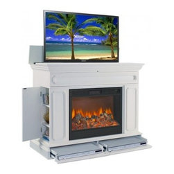 TV Lift Cabinets with Electric Fireplaces - The Remington White TV Lift Cabinet is endless sophistication and style. Not only will it showcase your home entertainment system, but it will also hide it when you do not want it to be seen. As an added benefit, this TV Lift Cabinet features a fireplace, a unique and incredible feature.