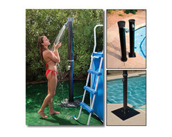 "Blue Wave - Blue Wave Outdoor Solar Shower with Base - Outdoor solar shower; with base enjoy a refreshing shower outdoors in sun-warmed water before and after your swim. This eco-friendly shower soaks up the sun's energy and warms the water insides. Simply mount the shower anywhere within reach of a garden hose. Then, hook it up, fill it up and let the sun go to work. No expensive installation or plumbing required. 90 day warranty. Easy assembly; swivel shower head; mounts to most surfaces; hot and cold temperature adjustment; connects to a standard garden hose; non-corrosive PVC construction; includes base; holds 5.5 gallons of water; tube height=75""; tube width=4"""