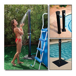 """Blue Wave - Blue Wave Outdoor Solar Shower with Base - Outdoor solar shower; with base enjoy a refreshing shower outdoors in sun-warmed water before and after your swim. This eco-friendly shower soaks up the sun's energy and warms the water insides. Simply mount the shower anywhere within reach of a garden hose. Then, hook it up, fill it up and let the sun go to work. No expensive installation or plumbing required. 90 day warranty. Easy assembly; swivel shower head; mounts to most surfaces; hot and cold temperature adjustment; connects to a standard garden hose; non-corrosive PVC construction; includes base; holds 5.5 gallons of water; tube height=75""""; tube width=4"""""""