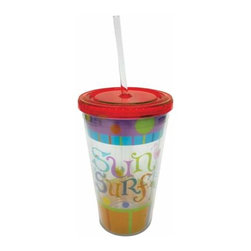 WL - 6.25 Inch Sun and Surf Motif Lidded Tumbler with Straw Drinking Cup - This gorgeous 6.25 Inch Sun and Surf Motif Lidded Tumbler with Straw Drinking Cup has the finest details and highest quality you will find anywhere! 6.25 Inch Sun and Surf Motif Lidded Tumbler with Straw Drinking Cup is truly remarkable.