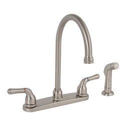 "Premier - Sanibel Two-Handle Hi-Arch Kitchen Faucet with Spray - Brushed Nickel - Twin Lever Handle Gooseneck Spout Kitchen Faucet Brushed Nickel Finish With Spray 1/2"" IPS Connection."