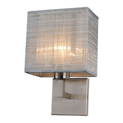 Bromi Design - Bromi Design B5403BN Prescott 1 Light Wall Scone with Silk Shade Multicolor - B5 - Shop for Wall Mounted Lighting and Sconces from Hayneedle.com! The Bromi Design B5403BN Prescott 1 Light Wall Scone with Silk Shade - 7W in. - Silver / Brushed Nickel offers a handsome accent to your contemporary or traditional decor. Crafted of solid metal finished in brushed nickel this wall-mounted sconce diffuses warm light through a ribbed glass bar and textured silk shade in your choice of color. This fixture requires one 60-watt E26 incandescent bulb which is not included. About Bromi DesignBromi Design provides innovative energy-efficient lighting designs for any space while offering premium lighting options that are functional and affordable. Whether illuminating a cozy bathroom or sizeable commercial space there are Bromi lighting solutions to fit your needs perfectly. Their core value is to bring great style to as many spaces as possible. Bromi Design light with striking intention.
