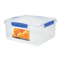 Sistema Klip It 5 Liter Food Storage Container - Unique shapes and comprehensive sizes of the cubed range of Klip-It products ensures maximum use of space in the fridge  freezer  and pantry.  Big enough to hold a bag of oranges or your other favorite foods for storage  efficient easy opening locking clips plus a rubberized seal of this 5 litre food storage container ensures that food stays fresher longer.  BPA Free  made in New Zealand from 100% lead free virgin materials.Product Features                                 Capacity - 5 Litre / 169 oz / 21 cups          Microwave  dishwasher  & freezer safe          BPA Free - Made from lead free virgin materials          Made in New Zealand