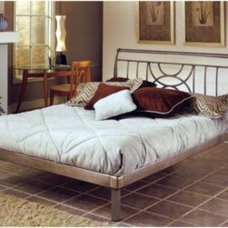Hillsdale - Hillsdale Mansfield Platform Bed Set - The Mansfield bed is an ultra modern platform style bed. The sleekness of the brushed silver finish is heightened by the opposing half circles and spindle design on the headboard.