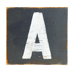 Zentique - Square Wooden Letter A - The Square Wooden Letter features an 8x8 wood patch with cream alphabet letter on a charcoal background. Distress will vary.