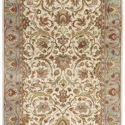 """Surya - Surya Taj Mahal Hand Knotted Beige Wool Square Rug, 18"""" x 18"""" - To people all over the world, Taj Mahal is well renowned for its magnificence and aesthetic beauty. With this concept of Taj in mind, this collection represents the stunning designs originated in the Persian villages in the 16th and 17th Century. Hand knotted in India using superior semi-worsted New Zealand wool, this collection is thoughtfully assembled to create the majestic sentiment of that era. Over hundred knots per square inch give an intricate, exquisite and delicate design encompassing a vast color range from soft shades to very strong vibrant colors enabling these masterpieces to embrace any decor. Imported.Material: 100% Semi-Worsted New Zealand WoolCare Instructions: Blot Stains"""