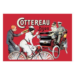 """Buyenlarge.com, Inc. - Cottereau Dijon - Paper Poster 12"""" x 18"""" - 1902 Speed-demon, Louis Cottereau, used his factory to turn out motorized vehicles as well as bicycles.  Louis Cottereau, born in Angers, was a speed-demon cyclist possessed of an extraordinary will that enabled him to prevail in spite of his short stature. Like Griffon and the Belgian firm Delin, Cottereau used his factory to turn out motorized vehicles as well as bicycles. Here, both vehicular options are given a promotional share - a bike the preferred ride of the solo excursionist, while the open-air sedan affords the opportunity for a family affair. Abeille was an illustrator known primarily for his numerous contributions to French humor magazines."""