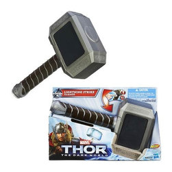 KOOLEKOO - Thor Electronic Hammer - nspired by the Thor movies, this amazing Thor Electronic Hammer will give you the powers of Thor! (Or a reasonable plastic facsimile thereof.) With a faux metal finish and a grip designed for little hands, this nifty mock weapon is the best way to keep Loki out of your room. Carry the hammer of Thor, the Mighty Avenger!