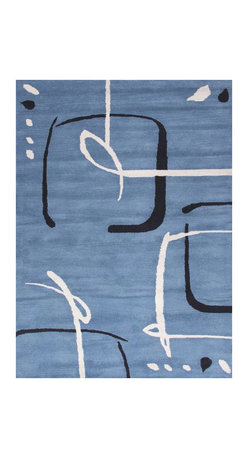 "Jaipur - Scribble Blue Rug - Wool Hand Tufted Modern - Well crafted wool area rug with modern ""scribble"" pattern. Hand tufted for extreme softness and lush pile."