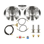 """Easy Fire Pits - 2 Propane Fire Bowls Kit Complete Basic Table Top / Fire Pot Kit - B4BCK-2Pk - B4BCK-2PK Complete Pair of Propane Table Top Fire Bowls/ Fire Pot Kit - """"Already made table top fire pot"""" – Complete from Tank Connection to Regulator to Hoses and Fire Bowls (2) via a Tee. Great Kit!"""