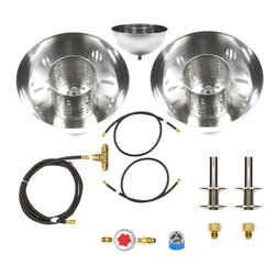 "Easy Fire Pits - 2 Propane Fire Bowls Kit Complete Basic Table Top / Fire Pot Kit - B4BCK-2Pk - B4BCK-2PK Complete Pair of Propane Table Top Fire Bowls/ Fire Pot Kit - ""Already made table top fire pot"" – Complete from Tank Connection to Regulator to Hoses and Fire Bowls (2) via a Tee. Great Kit!"