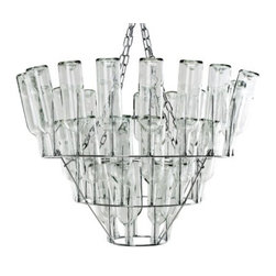 Wine Bottle Chandelier - Designed by Bonne Plat, this is a wine bottle chandelier in chrome from the Letimotiv line. 40 wine bottles are included. Requires: 4 x E12 light bulbs (not included). DimensionsLength:68 inchesHeight:36 inchesDiameter:28 inches