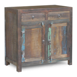 Timbergirl - RECLAIMED WOOD 2 DOOR SIDEBOARD - Rest easy, it's reclaimed. In a former life, the wood was used in Indian railway trestles. Today, it's prized for its natural imperfections and character; no two pieces are exactly alike.The salvaged materials used to create this side board have been properly sealed, adding long lasting durability to its unique character. This side board also makes an excellent dining server or entertainment center.