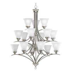 Progress Lighting - Progress Lighting P4365-09 1Five-Light Chandelier With Etched Glass Shades - Fifteen-light three-tier chandelier in a Brushed Nickel finish and etched glass.