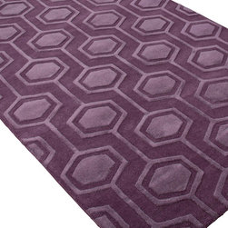 Jaipur Rugs - Hand-Tufted Looped and Cut Wool Purple/ Area Rug (2 x 3) - An urban contemporary styled rug collection that updates your living area with bold patterns. Ranging from soft neutrals to strong colors these rugs could live in any home.