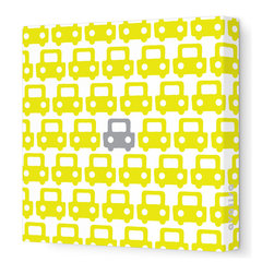 """Avalisa - Things That Go - Auto Pattern Stretched Wall Art, 28"""" x 28"""", Yellow Gray - Feel free to toot your own horn about this design statement. The sleek look of stretched canvas and a cool, clever pattern are sure to bring a smile wherever you hang it."""