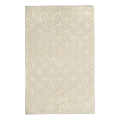 Tanjib rug in Hemp - A rope graphic embroidered design of circles and diamonds echoes pierced screens popular in Indian architecture. This motif is often used as a pattern on intricate Indian chintzes. 95% Wool, 5% Silk - Flat woven in India.