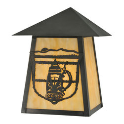 "Meyda Lighting - Meyda Lighting 7"" W Lake Clear Lodge Stein Wall Sconce - Perfect For Installation In Kitchens, Restaurants, Taverns, As Well As Family Rooms And Lounges. The Beige Art Glass Panels Are Complemented With Hardware Hand"