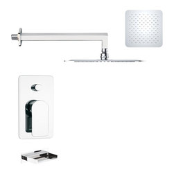 Remer - Chrome Contemporary Square Tub and Rain Shower Faucet Set - Contemporary shower system designed in Italy.