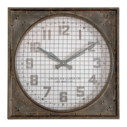 Uttermost - Warehouse Industrial Clock with Grill, 26x26 - With  a  warehouse-style  look  that  you'll  love  in  your  industrial  decor,  this  forged  metal  clock  features  a  grill  over  the  clock  face,  mottled  rust-colored  finish,  and  aged  ivory  clock  face.  Bold,  clear  numbers  are  a  great  feature  on  this  clock  which  reads,  American  Clock  Co.  Los  Angeles.