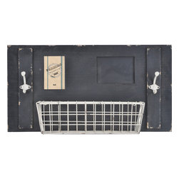 "Enchante Accessories Inc - Wall Organizer with Picture Frame, Chalkboard, Metal Basket & Coat Hooks (Black) - Wood wall organizer with picture frame, chalkboard, metal basket, and two coat hooksDistressed painted finish gives it a rustic, shabby chic lookPerfect for use in an entryway or mud roomCan be easily mounted to the wall in any roomMeasures 28"" x 6.5"" x 14.6""Add rustic charm and modern function to an entryway or mud room with this shabby chic wall organizer from the Home Office Collection. The Wall Organizer with Picture Frame, Chalkboard, Metal Basket & Coat Hooks is made from natural pine wood and features a painted finish with distressed and weathered edges that give it a shabby chic, rustic look and allow all of the imperfections and nicks of the wood to peek through. This wall organizer has a large rectangular shape and is detailed with a metal wire basket, a picture frame that can hold a 4"" x 6"" photo, two metal iron hooks, and a chalkboard surface on which you can write to-do lists, shopping lists, important reminders, or notes and messages for family members or friends.Hang this organizer on a wall in your mud room or entryway and use the basket as a convenient place to stash wallets, keys, sunglasses, mittens, or winter caps. Use the two double iron coat hooks to hang jackets and sweaters, hats, handbags, dog leashes, mittens, or other outdoor accessories that are best stored near the door. The small rectangular chalkboard provides a reusable surface on which to write reminders about medical appointments for the kids or vet appointments for your pets, welcome messages for guests, chore reminders for family members and roommates, or love notes for your significant other. In the photo frame, you can display your favorite family photo or a memory from your last fabulous vacation that you want to look at every time you come in or go out the door. The multiple storage solutions and varied features make this organizer a versatile accent that adds both style and function into any space. Choose from distressed black with a white basket and white hooks or a distressed ivory finish with a bright blue basket and dark metal hooks."