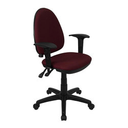 Flash Furniture - Multi-Function Adjustable Task Arm Chair - Adjustable lumbar support. Height adjustable back. Locking back angle adjustment. Height adjustable arms. Thickly Padded Seat. Pneumatic seat height adjustment. Double paddle control mechanism. Heavy duty black nylon base. Heavy duty dual wheel casters. Warranty: 2 year limited. Assembly required. Back: 16 in. W x 20 in. H. Seat: 18.25 in. W x 17 in. D. Seat Height: 16.5 - 20.5 in.. Arm Height from Seat: 7.5 - 10 in.. Overall: 22 in. W x 22 in. D x 35.5 - 39.5 in. H (36 lbs.)