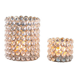 Horizon - Silver Crystal Beaded Tealight Set - Update your decor with these lovely tealight holders that feature glass crystals on a silver-plated iron frame. These silver crystal beaded tealight holders come in a set of two.