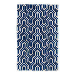 """Kaleen - Kaleen Revolution Collection Rev01-22 2'3""""X8' Navy - The color Revolution is here! Trendy patterns with a fashion forward twist of the hottest color combinations in a rug collection today. Transform a room with the complete color makeover you were hoping for and leaving your friends jealous at the same time! Each rug is hand-tufted and hand-carved for added texture in India, with a 100% soft luxurious wool."""