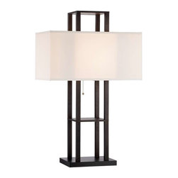 Adesso - Adesso Lloyd Table Lamp - Shelf table lamp provides storage and enhanced style. Four square poles support the shelf and the wider base offers extra stability. MDF with black PVC veneer; has a rectangular off-white muslin fabric shade. The shade is K/D for compact shipping. Bottom and one shelf for storage/display. Also has an on/off ball-accented pull-chain switch. Takes 60 Watt incandescent or 13 Watt CFL bulb. 32.25 in Height, 7 in Square. Base: 10 in Width, 8 in Depth. Clearance from base to middle shelf and from middle shelf to under-shade socket shelf is 8.25 in. The top shelf sits 4.75 in above the shade top. Shade: 10 in Height, 20 in Width, 12 in Depth.