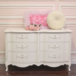 Shabby White Rose 6 Drawer Dresser - This gorgeous dresser features 6 drawers. Note the lovely curvy design on each drawer face. Each drawer has been adorned with lovely appliques and glass knobs. Perfect for any shabby cottage chic bedroom!