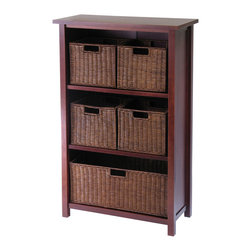 Winsome - Milan 6pc Cabinet/Shelf and Baskets - Simple Design yet function and attractive storage shelf with 5 wired baskets is a perfect place to store your goodies. Perfect for every room in the house. Shelf needs assembly.