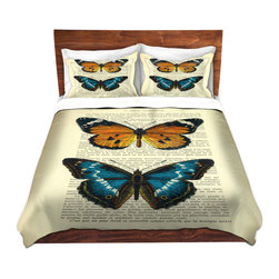 DiaNoche Designs - Duvet Cover Microfiber Twin - DiaNoche Designs - Madame Memento - Butterflies II - DiaNoche Designs works with artists from around the world to bring unique, artistic products to decorate all aspects of your home.  Super lightweight and extremely soft Premium Microfiber Duvet Cover (only) in sizes Twin, Queen, King.  Shams NOT included.  This duvet is designed to wash upon arrival for maximum softness.   Each duvet starts by looming the fabric and cutting to the size ordered.  The Image is printed and your Duvet Cover is meticulously sewn together with ties in each corner and a hidden zip closure.  All in the USA!!  Poly microfiber top and underside.  Dye Sublimation printing permanently adheres the ink to the material for long life and durability.  Machine Washable cold with light detergent and dry on low.  Product may vary slightly from image.  Shams not included.