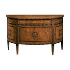 """Inviting Home - English Inlaid Cabinet - 18th-century English style demilune cabinet with olive burl veneer inlaid with palissander walnut and rosewood one drawer four doors one shelf inside and antiqued brass hardware; 57-3/4""""W x 21""""D x 35-1/2""""H hand-made in Italy Hand-crafted 18th-century English style inlaid demilune cabinet. English style cabinet features olive burl veneer inlaid with palissander walnut and rosewood. This English cabinet has one drawer four doors one shelf inside and antique brass hardware. This inlaid cabinet is hand-made in Italy."""