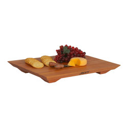 John Boos - John Boos Cherry Fusion Cutting Board with Contoured Feet - Contemporary Boos Fusion Cutting Board in American Cherry measures 20 x 15 in. and is 1 in. thick. Elevated on contoured feet that prevent slipping and sliding.