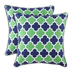 Trellis Printed Pillows, Emerald/Navy, Set of 2 - This chic trellis-patterned pair will be perfect in my son's big-boy room. I love the bold colors paired with the upscale pattern.