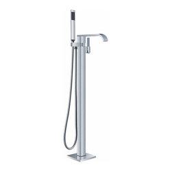 Benevento - Chrome Finish Single Handle Modern freestanding bathtub faucet -