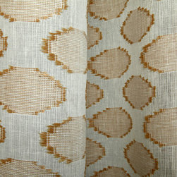 Linen Sheer Raffia Circles Drapery in Straw - Discount Linen Sheer Drapery Fabric with Raffia Circles in Straw & Cream. Linen blend ideal for drapes, curtains, and other window treatments, or bed canopy.