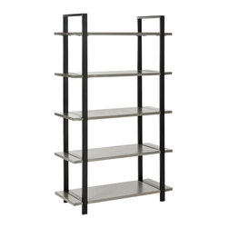 Safavieh - Safavieh Scott 65 Inch Etagere in Ash Grey - Industrial and contemporary, the Scott etagere boasts elm shelves that seem to float on wrap-around frames of dark metal. Ideal for any room in the home and perfect for the office, this sophisticated piece makes a statement on its own and a dramatic architectural look in pairs. Use the Scott etagere to store favorite books and curios in style. What's included: Etagere (1).