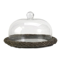 iMax - iMax Olivia Glass Cloche w/ Willow Base X-50258 - The Olivia glass cloche adds interest to any area! Willow is finished in a warm grey stain, making this neutral piece easily customizable with filler for a personalized look!
